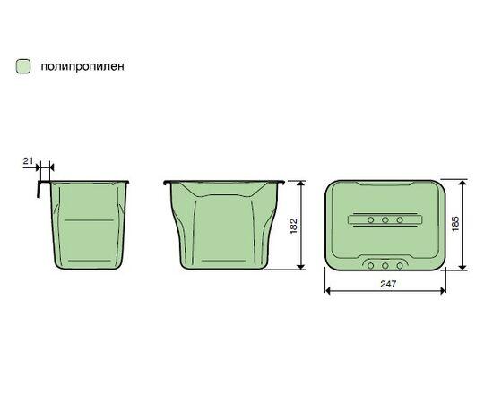 Контейнер (5л), пластик серый с зелёной крышкой, фото 5