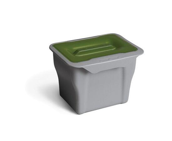 Контейнер (5л), пластик серый с зелёной крышкой, фото 4