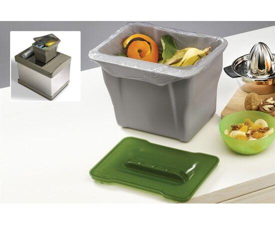 Контейнер (5л), пластик серый с зелёной крышкой, фото 3