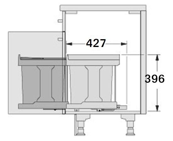 Выкатное мусорное ведро Solo, ширина базы 400 мм, синхронное выдвижение с фасадом Hailo (3636-01), фото 5