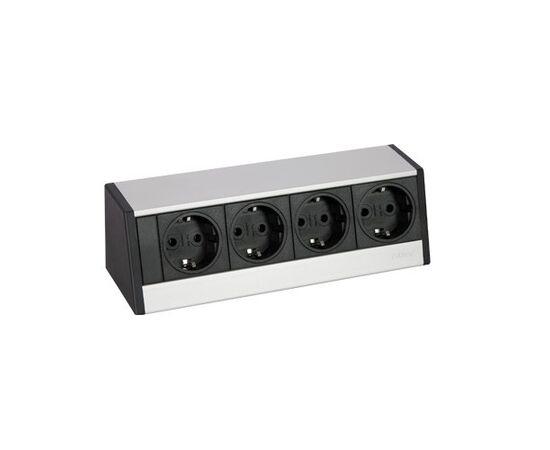 Розетка горизонтальная EVOline® R-Dock MEDIUM блок на 4 розетки, кабель 3м, серебристая (980.00.019), фото 1