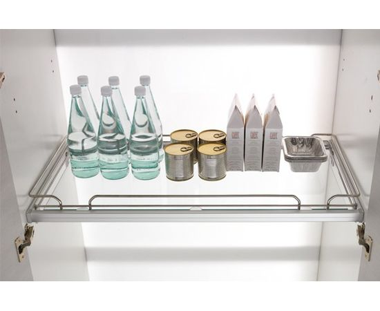 Полка INOXA PANTRY с бортиком в базу 600 с алюминиевой рамкой под стекло, отделка хром (408R/60-45CM), фото 1