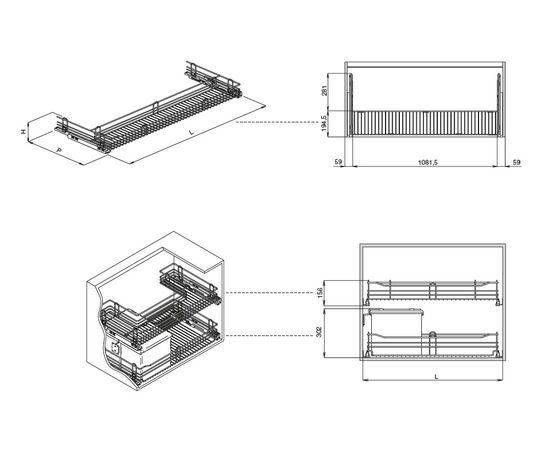 Сетка выкатная Inoxa П-образная под мойку в базу 1200, с доводчиком Blumotion (KSLTSUBM120PAC), фото 1