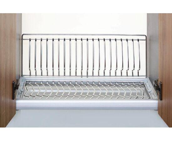 Сушка для посуды Ellite 1-уровневая в базу 800/16 с подсветкой, отделка сталь, поддон пластик (723KITP80X522ACW-16), фото 1