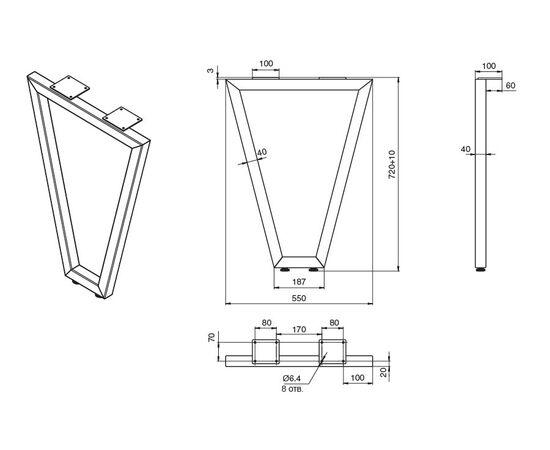 Опора для стола V-образная Лиссабон-Т l.550, h.720, отделка белый бархат (матовый) (ОП10Т-72R.9010), фото 3