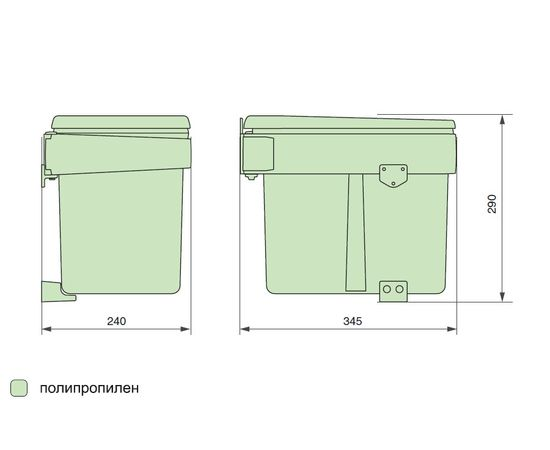 Ведро для мусора (15л), пластик темно-серый (820110111), фото 5