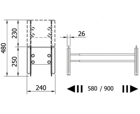 Подставка для обуви металлическая телескопическая CIP, 580 - 900 мм, серый Servetto, фото 3