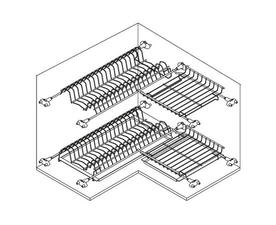 Сушка 2-уровневая угловая в базу 600x600 (704X), фото 4