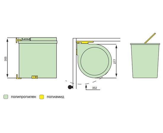 Ведро для мусора (13л), пластик серый металлик (6.270.MT), фото 3