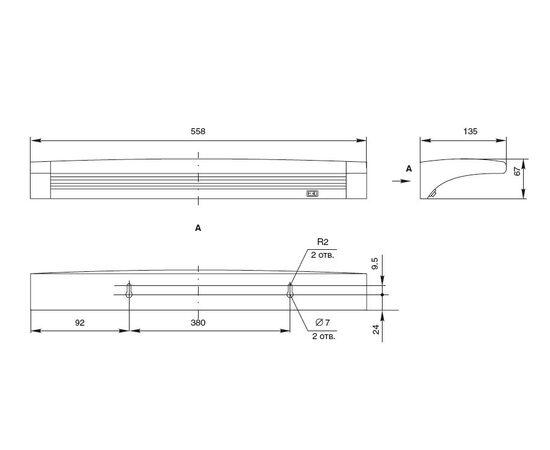 Накладной линейный светильник на стену, люминесцентный 13W/220-240V, 2700K, отделка под алюминий, фото 3