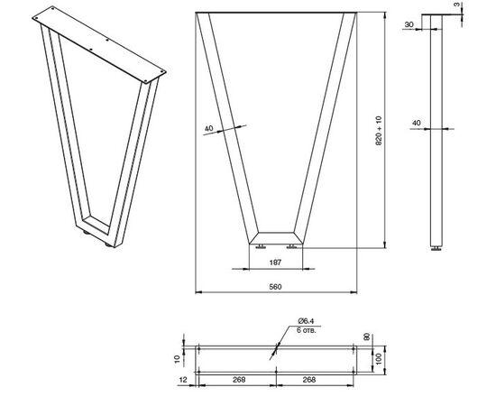 Опора для стола V-ОБРАЗНАЯ ЛИССАБОН, l.560, h.870 серебро бриллиант (ОП10-87R.0393), фото 3