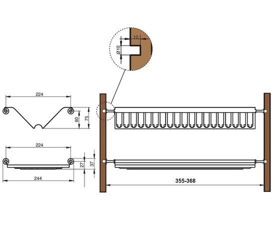 Сушка для посуды 2-уровневая в базу 400, сталь нержавеющая ELLETIPI (B-SWVB.36), фото 2