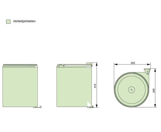 Ведро для мусора (11л), пластик серый (97G), фото 4