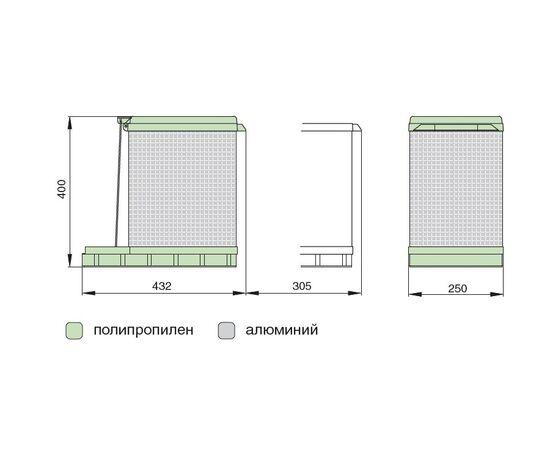 Ведро мусорное Tower 17 л К300, серый/алюминий ELLETIPI (PAL609/1ALL), фото 2