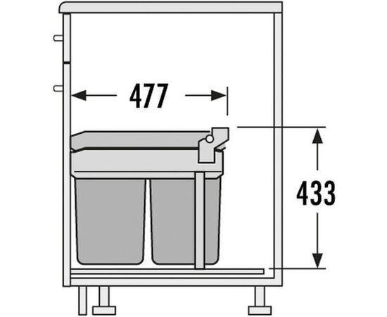 Мусорное ведро встраиваемое в выдвижной ящик с релингами шириной 300 мм - Tandem Hailo (3663-10), фото 3