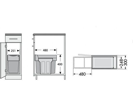 """Система сортировки мусора, хранения """"Tandem"""", в базу 300 мм Hailo (3666-11), фото 2"""