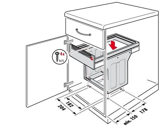 """Система сортировки мусора, хранения """"Tandem"""", в базу 300 мм Hailo (3666-11), фото 5"""