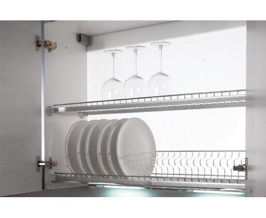Сушка для посуды 2-уровневая 2-уровневой в базу 600/18 с подсветкой, отделка сталь нержавеющая Inoxa (707KIT60X6W), фото 1