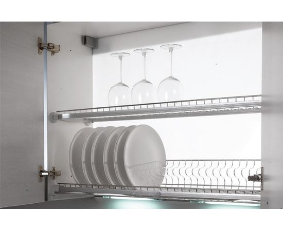 Сушка для посуды 2-уровневая в базу 900/18 с подсветкой, отделка сталь нержавеющая Inoxa (707KIT90X12W), фото 1