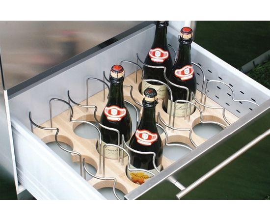 Ёмкость Casseto в ящик 600, для 16 бутылок (с держателями), бук/хром глянец (60.08XB/BT50), фото 1