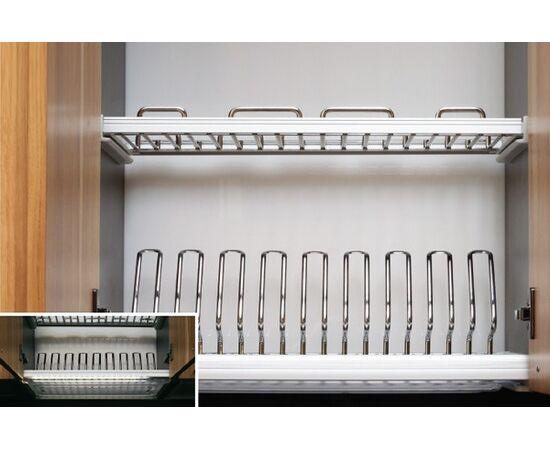 Сушка Ellite 2-уровневая в базу 900/16 с подсветкой, отделка хром, поддон пластик (716KIT90XC522LWW-16), фото 1