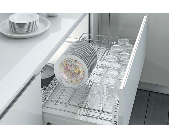 Сушка для посуды выдвижная в нижнюю базу 600, с доводчиком, отделка хром INOXA STEEL (1703Y/60-45PC), фото 1