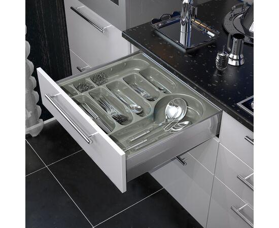 Лоток для столовых приборов FUTURA, ширина фасада 600 мм для ящика Hettich Innotech, цвет - серый Agoform (12010023), фото 1