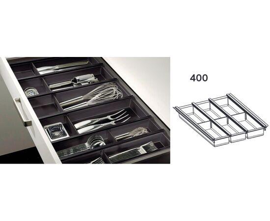 Лоток для столовых приборов черный Ninka Cuisio Aqua для Legrabox Blum, 400 мм (2251.99.40571), фото 1