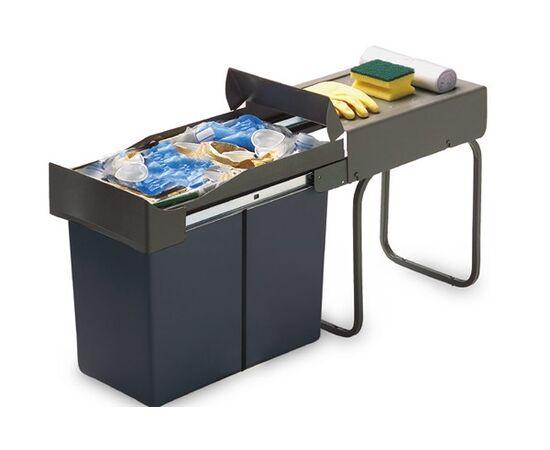 Ведро для мусора (21л) выдвижное, пластик серый антрацит + серый кварц (226.GA), фото 1