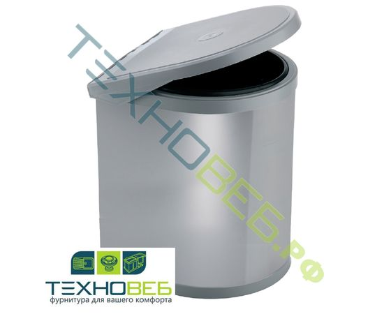 Ведро мусорное Ring 12 л К400, серый/нерж. сталь ELLETIPI (PPI607/1 12L), фото 1