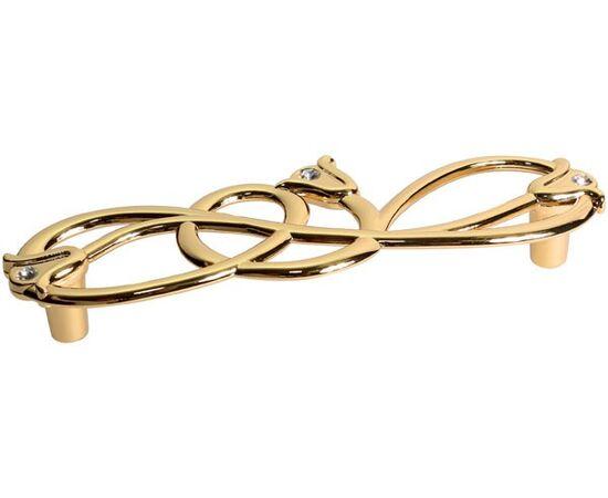 Мебельная ручка-скоба 128мм, отделка золото глянец + горный хрусталь (WMN.672X.128.MKRGP), фото 1