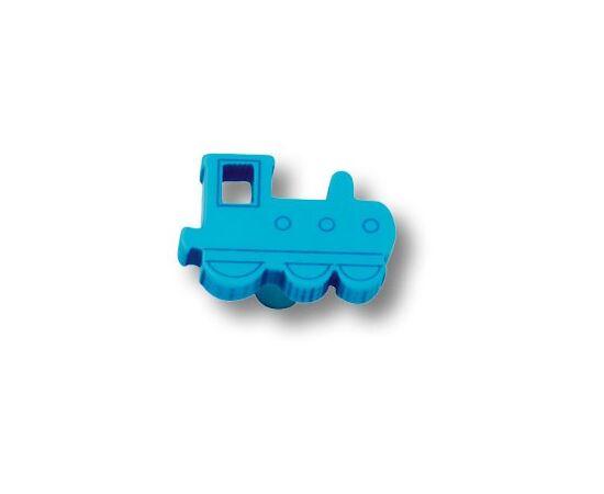 Ручка мебельная кнопка детская, паровозик синий (605AZ), фото 1