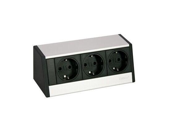 Розетка горизонтальная EVOline® R-Dock SMALL блок на 3 розетки, кабель 3м, серебристая (980.00.017), фото 1